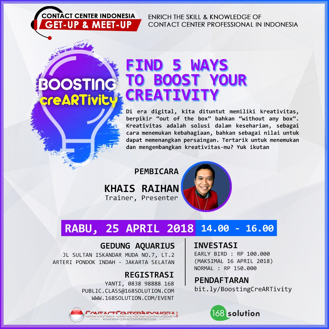 "GET-UP & MEET-UP ""BOOSTING CREATIVITY"" 25 APRIL 2018"